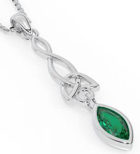 "Silver Emerald Irish ""Celtic Knot"" Pendant"