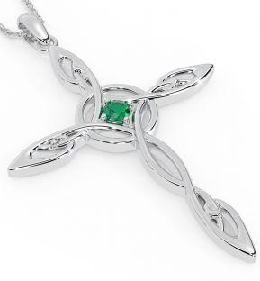 "14K White Gold Solid Silver Emerald Irish ""Celtic Cross"" Pendant"