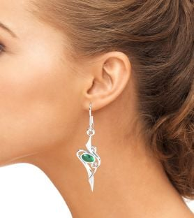 Emerald 14K White Gold Solid Silver Celtic Dangle Earrings