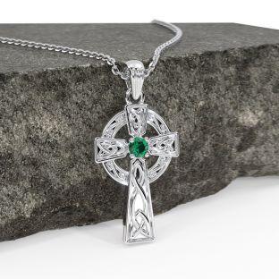 "Silver Emerald Irish ""Celtic Cross"" Pendant Necklace"