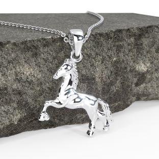 "Silver Irish ""Horse"" Pendant Necklace"