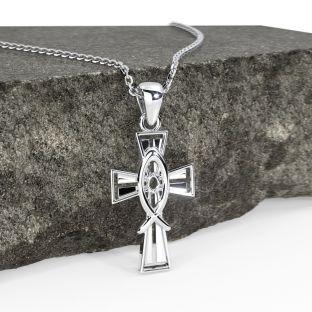"Silver Irish ""Celtic Cross"" Pendant Necklace"