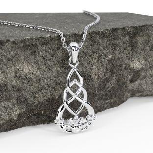 Silver Celtic Claddagh Pendant Necklace