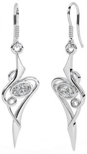 Diamond Silver Celtic Dangle Earrings