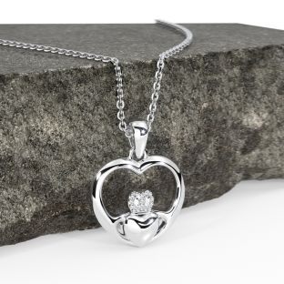 14K White Gold Silver Claddagh Heart Pendant Necklace