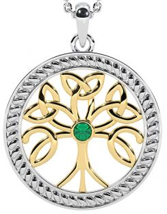 """Tree of Life"" White & Yellow Gold Emerald .1cts Celtic Pendant Necklace"