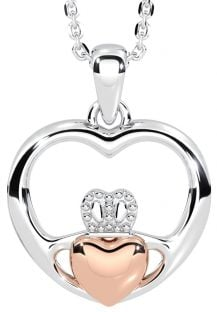 """14K Two Tone Gold Silver Claddagh """"Heart"""" Pendant"""