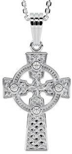 "14K White Gold coated Silver Diamond Irish ""Celtic Cross"" Pendant Necklace"