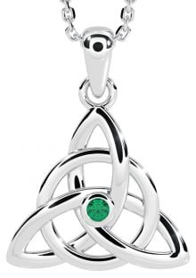 "14K White Gold Solid Silver Emerald Irish ""Celtic Knot"" Pendant"