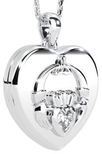 Silver Claddagh Heart Locket Pendant