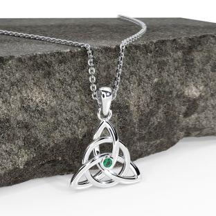 "14K White Gold Solid Silver Genuine Emerald .03ct Irish ""Celtic Knot"" Pendant Necklace"