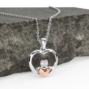 14K Two Tone Rose Gold Solid Silver Claddagh Heart Pendant Necklace