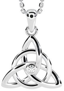 "14K White Gold Solid Silver Diamond .03cts Irish ""Celtic Knot"" Pendant Necklace"