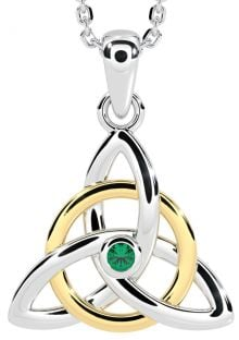 "14K Two Tone Gold Solid Silver Genuine Emerald .03ct Irish ""Celtic Knot"" Pendant Necklace"