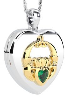 """14K Two Tone Gold Emerald Solid Silver """"Claddagh"""" Celtic Locket Pendant Necklace"""