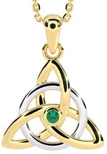 "Yellow & White Gold Genuine Emerald .03cts Irish ""Celtic Knot"" Pendant Necklace"