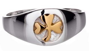 "Mens 14K Two Tone Gold Irish ""Shamrock"" Ring"