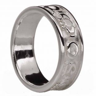 """Mens Silver """"Love Forever"""" Claddagh Band Ring"""