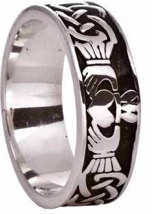 Mens White Gold Celtic Claddagh Band Ring