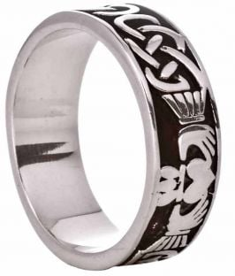 Silver Celtic Claddagh Mens Band Ring