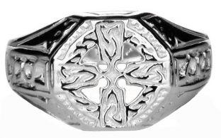 Silver Celtic Cross Ring Unisex ladies Mens