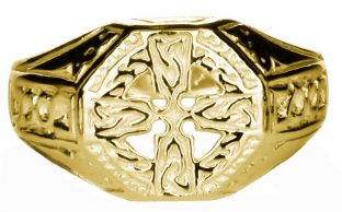 14K Yellow Gold coated Silver Celtic Cross Ring Mens Ladies Unisex