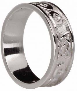 "Mens Silver ""Love Forever"" Celtic Band Ring"