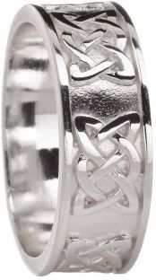 """Mens Silver """"Lovers Knot"""" Celtic Wedding Band Ring"""