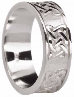 "Mens Silver ""Lovers Knot"" Celtic Wedding Ring"