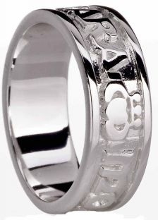 14K White Gold Soul Mate Celtic Claddagh Ring