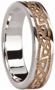 14K Gold Silver Celtic Ring Unisex Ladies Mens
