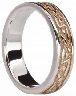 14K Two Tone Gold Silver Celtic Band Ring Unisex Ladies Mens