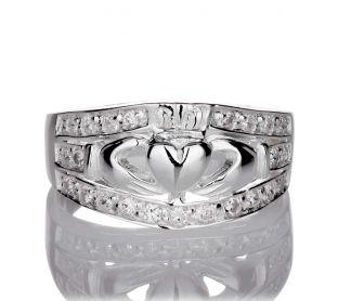 Ladies White Gold Diamond .35 cts Claddagh Ring