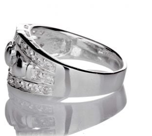 Silver Diamond Claddagh Ring