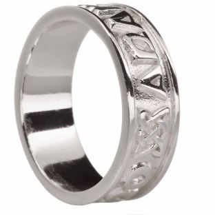 """Mens """"My Soul Mate"""" Silver Celtic Band Ring"""