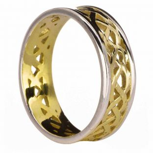 14K Yellow & White Gold coated Silver Celtic Band Ring Unisex Mens Ladies