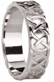 "Mens 14K White Gold Silver Celtic ""Eternity Knot"" Ring"