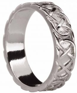 "Mens 14K White Gold Silver Celtic ""Eternity Knot"" Band Ring"