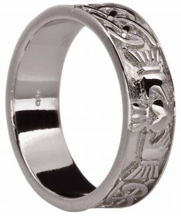 Mens 14K White Gold Silver Celtic Claddagh Band Ring