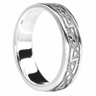 Silver Celtic Band Ring Unisex Ladies Mens