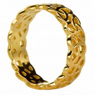 Ladies 14K Gold Silver Celtic Knot Band Ring