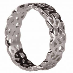 14K White Gold Silver Celtic Knot Band Ring Set