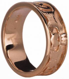 14K Rose Gold Silver Claddagh Celtic Band Ring Unisex Ladies Mens