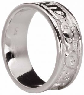 """Mens Silver """"My Soul Mate"""" Celtic Claddagh Band Ring"""
