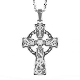 "Mens Black Rhodium Silver ""Warrior"" Irish Celtic Cross Pendant Necklace"
