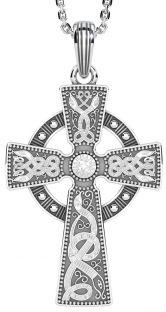 "Mens White Gold & Black Rhodium ""Warrior"" Celtic Cross Pendant Necklace"