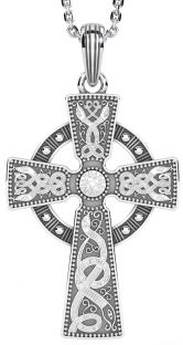 "Extra Large Mens Black Rhodium Silver ""Warrior"" Irish Celtic Cross Pendant Necklace"