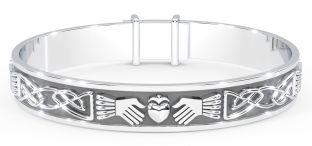 "Silver Celtic ""Claddagh"" Bangle Bracelet"