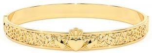 """14K Gold coated Solid Silver """"Claddagh"""" Celtic Knot Bracelet"""