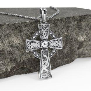 "Mens Black Rhodium Silver ""Warrior"" Irish Celtic Cross Pendant Necklace"